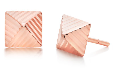 9ct Rose Gold Pyramid Earrings
