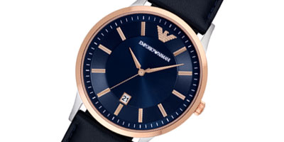 Emporio Armani Rose Gold Tone and Stainless Steel Men's Watch