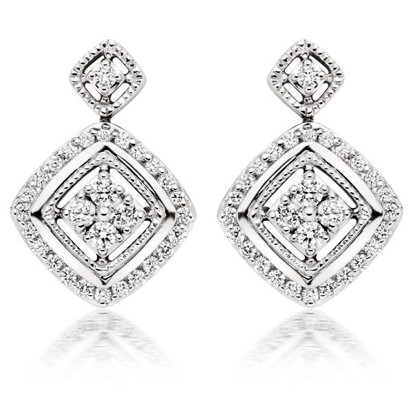 Beaverbrooks Era Signature 9ct White Gold Diamond Drop Earrings