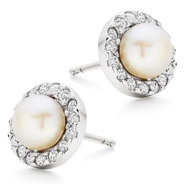Silver Cubic Zirconia Fresh Water Cultured Pearl Earrings