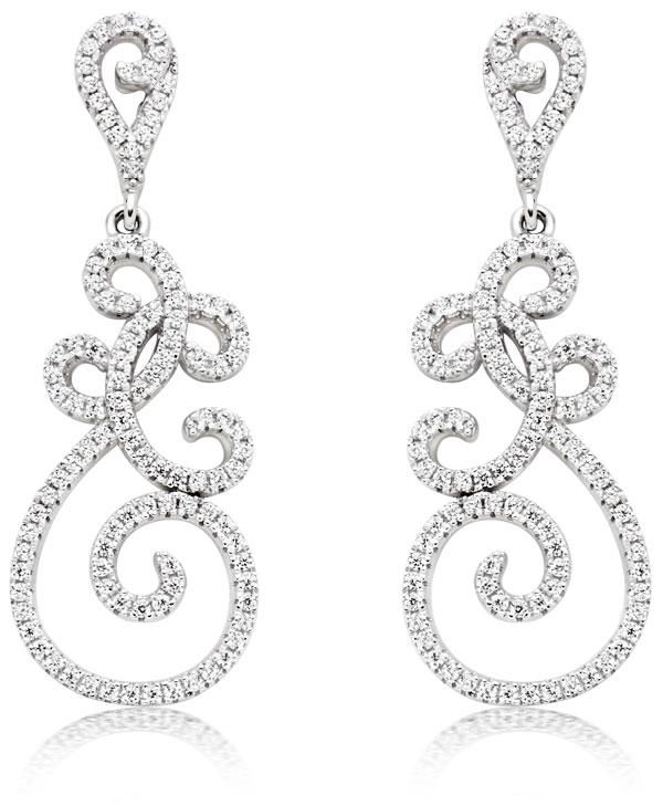 Silver Cubic Zirconia Swirl Drop Earrings