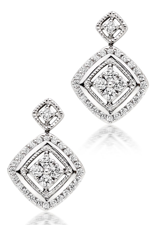 Era Signature 9ct White Gold Diamond Drop Earrings