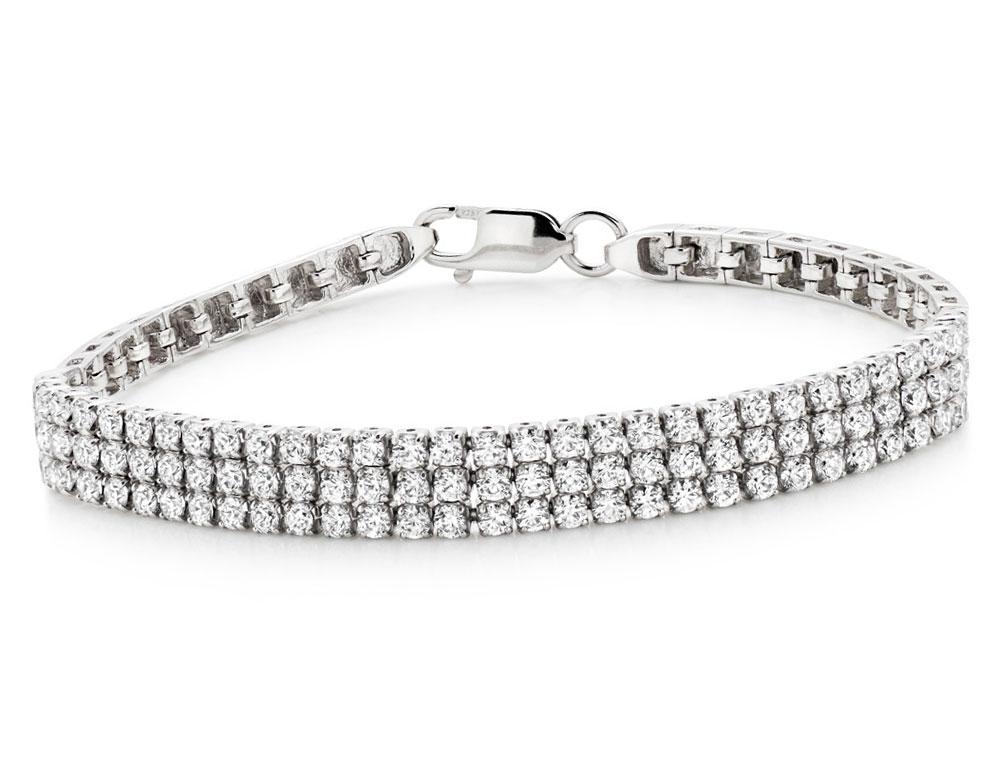 Silver Cubic Zirconia Triple Row Bracelet