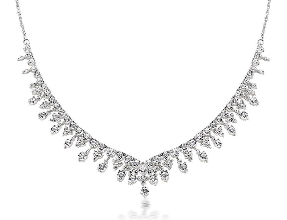 Silver Cubic Zirconia Cascade Necklace