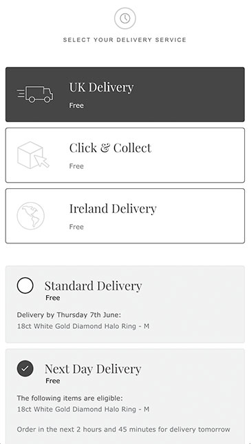 Delivery address must be the same as billing address
